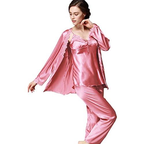 a9e2711ef6 Pijama de manga larga para mujer Conjuntos de pijamas de seda de satén Ropa  de dormir