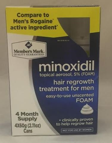 Member's Mark Minoxidil Topical Aerosol 5% Unscented FOAM Hair Regrowth Treatment for Men Rogaine (4 Month Supply) by Member's Mark (Image #1)