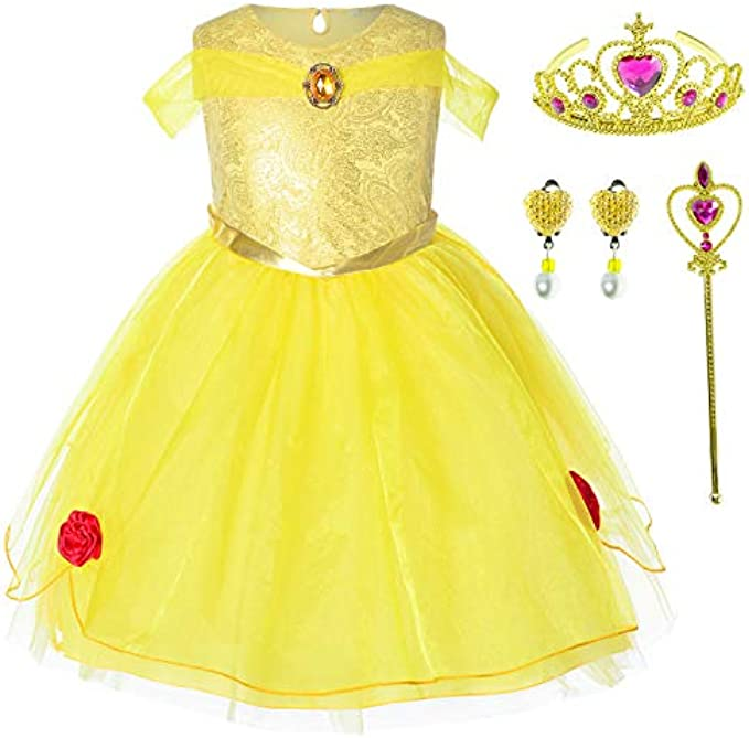 Party Chili Princess Costume for Little Girls Birthday Dress Up 2T-6T