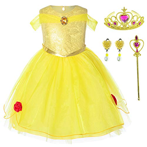 Party Dresses Toddlers (Princess Belle Costume Birthday Party Dress For Toddler Girls 3-4 Years (3T)