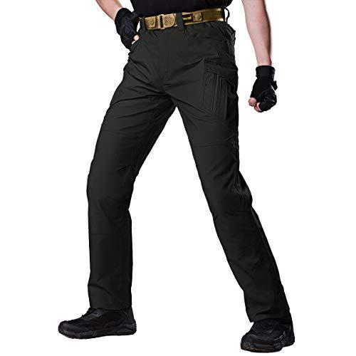 FREE SOLDIER Men's Outdoor Urban Tactical Pants Ripstop Water Resistant Assault Combat Cargo Pants(Black 44W/31.5L)