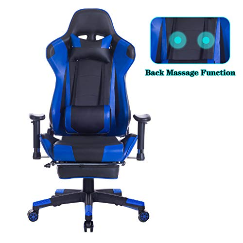 HEALGEN Back Massage Gaming Chair with Footrest,PC Computer Video Game Racing Gamer Chair High Back Reclining Executive Ergonomic Desk Office Chair with Headrest Lumbar Support Cushion GM002(Blue)