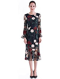 CG Women ' s Round Collar Retro Waist Pagoda Sleeve Handmade Embroidery Pencil Evening Dress Fishtail Skir