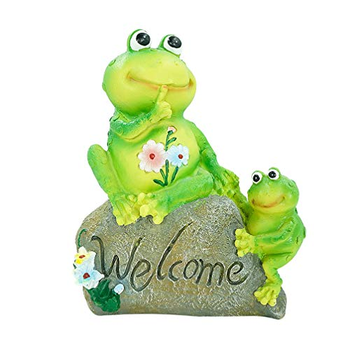 Dreamseden Frog Welcome Garden Statues - 9 inch Outdoor Decoration Cute Resin Sculptures Outside Yard Figurines Flower Stone Gifts (Mother and Son)