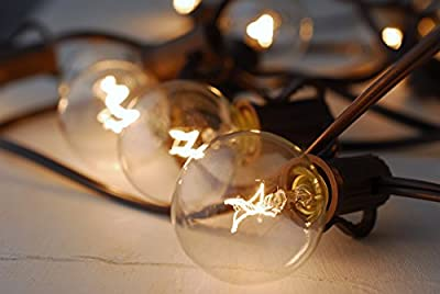 100ft. Globe String Lights With Clear G40 Bulbs UL Listed for Indoor/Outdoor Use Outdoor String Lights Patio Lights Wedding Lights Black Wire