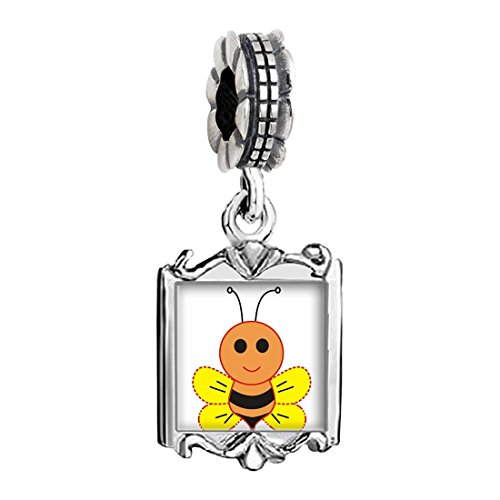 Bee Charms Baby (Silver Plated Cartoon Honeybee Photo Family Mom & Baby Girl & Dad Dangle Bead Charm Bracelet)