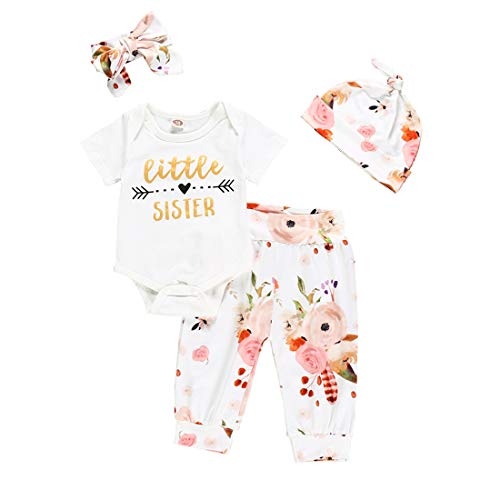 4Pcs Infant Girl Outfits Baby Sister Bodysuit Tops Floral Leggings Pants Set Bowknot Headbands Newborn Pajamas Clothes (Little Sister Short, 0-3 Months)