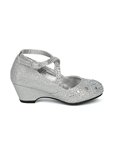 Image of Alrisco Girls Glitter and Rhinestone Embellished Cross Strap Kiddie Heel HH14 - Silver (Size: Little Kid 12)