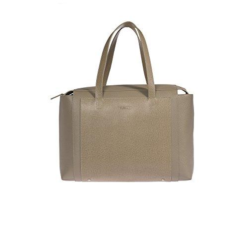 Trussardi mujeres bolso de cuero genuino en Saffiano, 100% Becerro - 37x27x18 Cm Barro