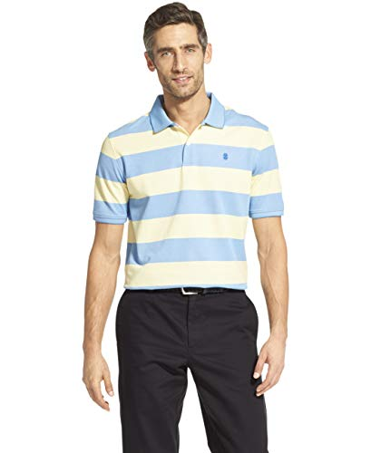 IZOD Men's Advantage Performance Short Sleeve Stripe Polo, Lemon, Medium (Pique Knit Advantage)
