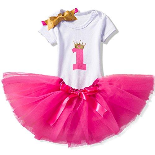 NNJXD Girl Crown Tutu 1st Birthday 3 Pcs Outfits Romper+Dress+ Gold Headband Size (1) 1 Year -