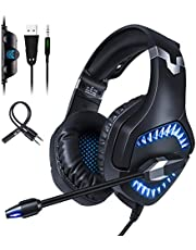Qingta Gaming Kopfhörer Verkabelt Gaming-Headset mit Mikrofon, LED Light Bass Surround für Computer Laptop Mac Nintendo Switch Spiele Handy Tablet PS4, Xbox One Blau