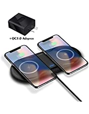 DOSHIN Fast Wireless Charger 10W Double Wireless Charging Pad Compatible with iPhone 11/11Pro/X/Xs Max/XR/8 Plus, Samsung S10/S10+/S9/S9+/S8+/Note9, Airpods 1/2/Pro, Black (AC Adapter Included)