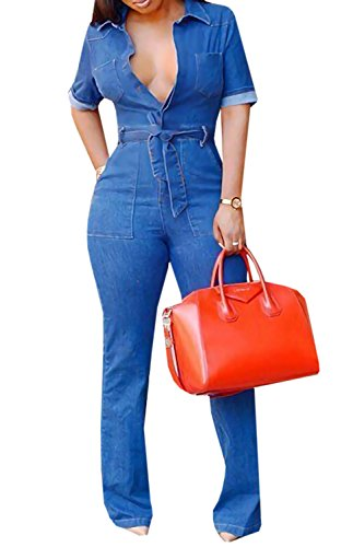 L&ZZ Women Short Sleeves Denim Blue Button Down Jumpsuits with Pocket Plus Size