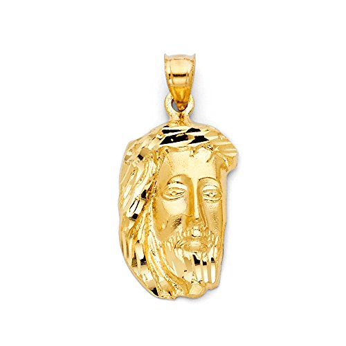 Jewels By Lux 14K Yellow Gold Jesus Christ Head Pendant 30mm X 15mm
