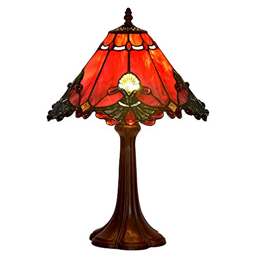 Bieye L10021 Baroque Tiffany Style Stained Glass Table Lamp with 13 Inch Wide Handmade Lampshade and Metal Base with Dark Brown Baking Finish, Red, 13