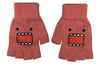 - Domo Kun Pink Face Knit Fingerless Gloves