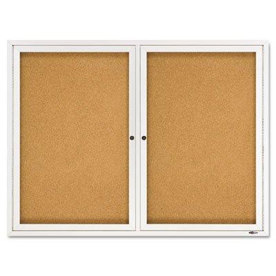 Enclosed Bulletin Board, Natural Cork/Fiberboard, 48x36, Aluminum Frame