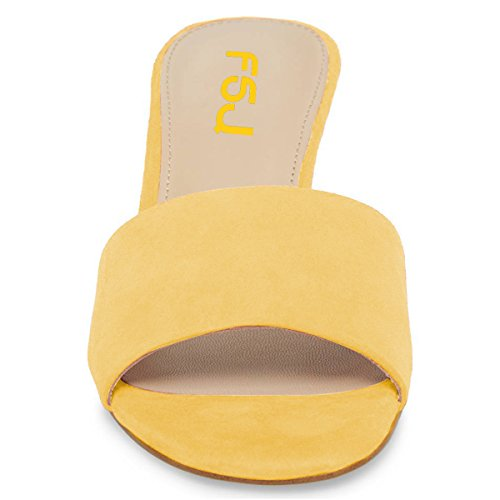 Toe Block FSJ Sandals Fashion 15 Yellow Size US Shoes 4 Mules Women Heels Single Chunky Strap Mid Open wwvtr