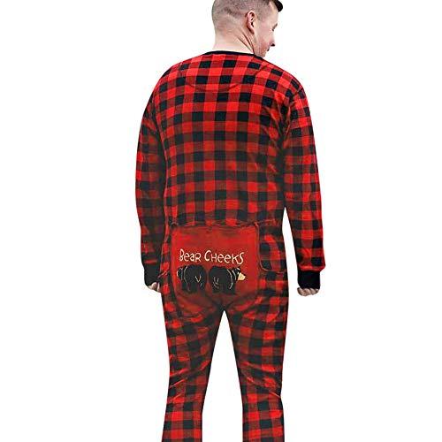 Hatoys Christmas Family Lattice Xmas Sleepwear Nightwear Romper for Baby Adult (XXL, Red(Men's))