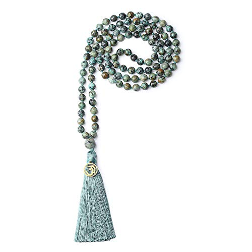 COAI OM Charm Hand Knotted Tassel 108 Mala Beads African Turquoise Stone Beaded Necklace