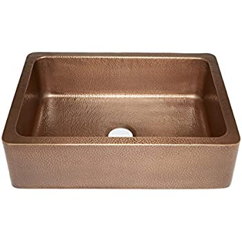 """Sinkology SK302-30AC Courbet Farmhouse Apron Front Handmade Single Bowl Kitchen Sink, 30"""", Hammered Antique Copper"""
