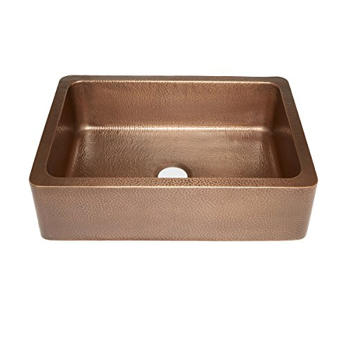 Sinkology SK302-30AC Courbet Farmhouse Apron Front Handmade Single Bowl Kitchen Sink, 30, Hammered Antique Copper