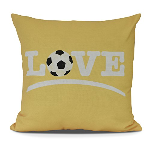 E by design O5PW870YE9-20 Love Soccer Decorative Word Throw Outdoor Pillow, 20'', Yellow by E by design