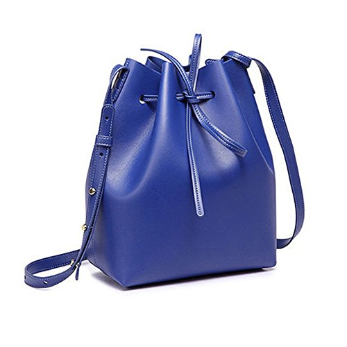 Bag Blue Cluthes Shoulder Leather Cross Satchel Tote Purse Large body S Women Soft Free Gift Bucket Girl for Lady wnqtTfBv