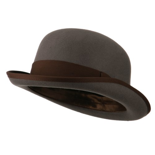 Jeanne Simmons Men's Felt Bowler Hat with Ribbon Trim - Grey Chocolate ()