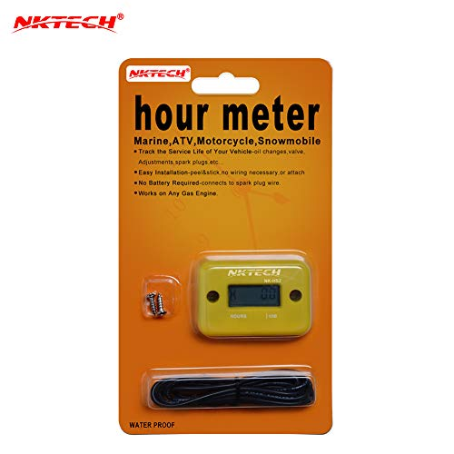 NKTECH NK-HS2 Inductive Hour Meter for Gas Engine Marine ATV Motorcycle Boat Snowmobile Dirt Ski Generator Waterproof Stroke Tachometer (Yellow) ()