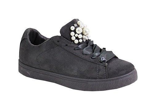 Style By Perle Femme Basket Plate avec Daim Shoes qaHraw6t