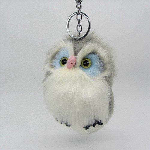 Cute Grey Fluffy Fur Owl Charm Key chain For Car Handbag Pendant Pompom Key Chain ()