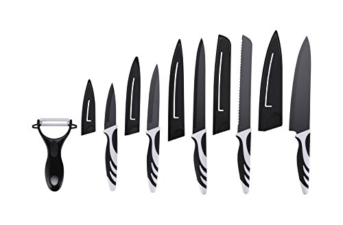 Color Kitchen Knife Set With Covers 5 Professional Miracle Blade Knives Kitchen Set Includes Peller Chef, Bread, Carving, Paring, Utility All Sharp Knifes Kitchen Ready for cooking, Drawer Knife Set ()