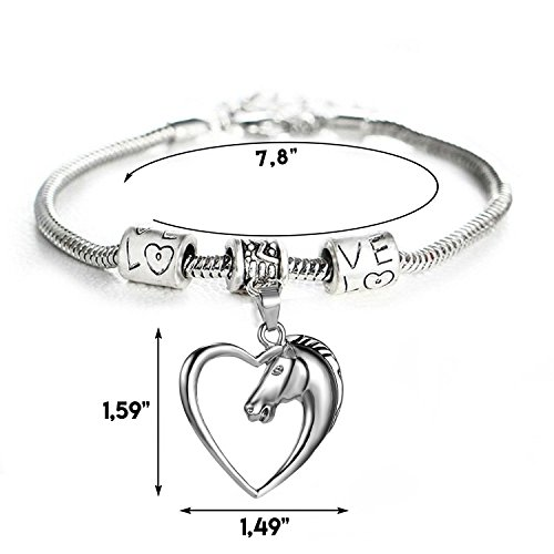GlobalJewels Heart Horse Bracelet - Best Gift for Mother, Sister, Brother, Friends, Birthdays and Anniversaries by GlobalJewels (Image #1)