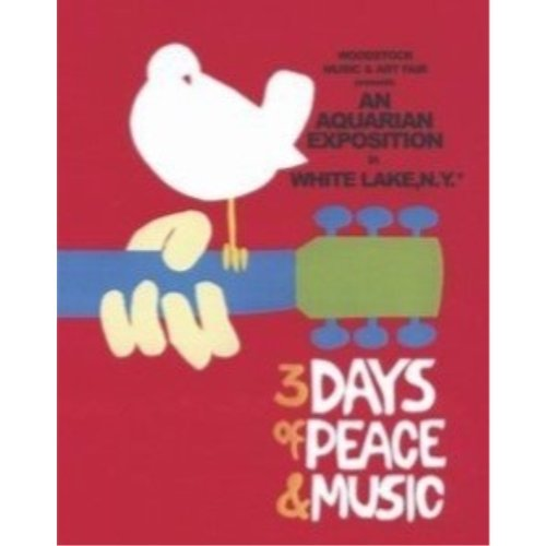 Three Days of Peace and Music 20x16 Art Print Poster White Dove of Peace on Guitar Peace Love Music Buyartforless Woodstock 1969