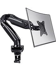 HUANUO Enkele Monitorarm voor 13-27 '' LED LCD-Schermen, 360 ° Draaibare Gasveerarm, 2 Optionele Montagemethoden, Ondersteuning VESA 75-100 mm en Gewicht 2-6,5 Kg