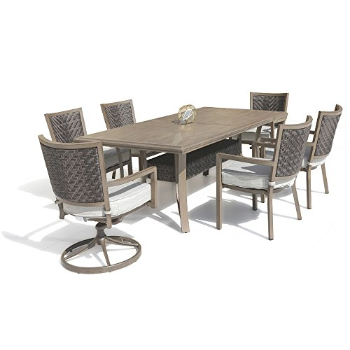 Nuu Garden 7 Piece Outdoor Aluminum and PE Wicker Patio Dining Set with 84 x 42 Inch Rectangular Slat Top Table, 2 Swivel Rockers and 4 Stackable Arm Chairs with 6 Cushions (7 Piece Slat)