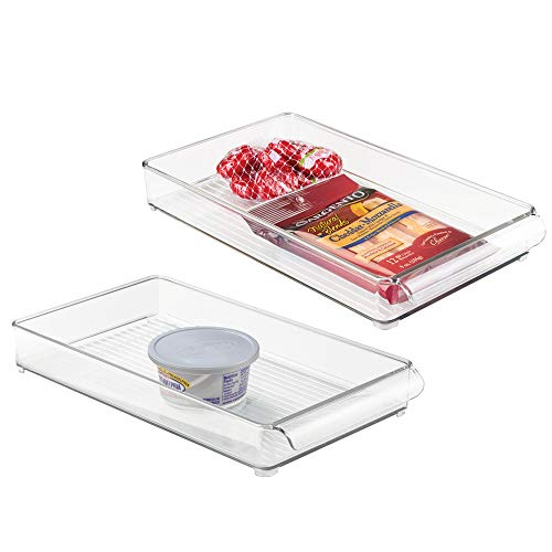 mDesign Slim Stackable Plastic Food Storage Container Tray with Handle - for Kitchen, Pantry, Cabinet, Fridge/Freezer - Organizer for Snacks, Produce, Vegetables - BPA Free, Food Safe - 2 Pack, Clear