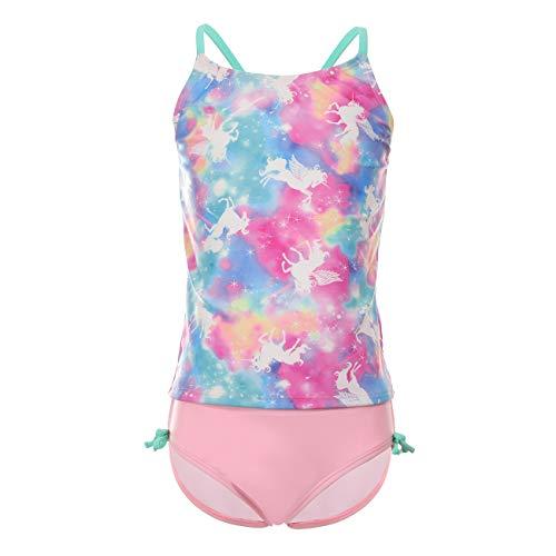 DAYU Girls Tankini Set Swimsuits Two Pieces Bathing Suit Swimwear, Dreamy Horse Printed, 12-14