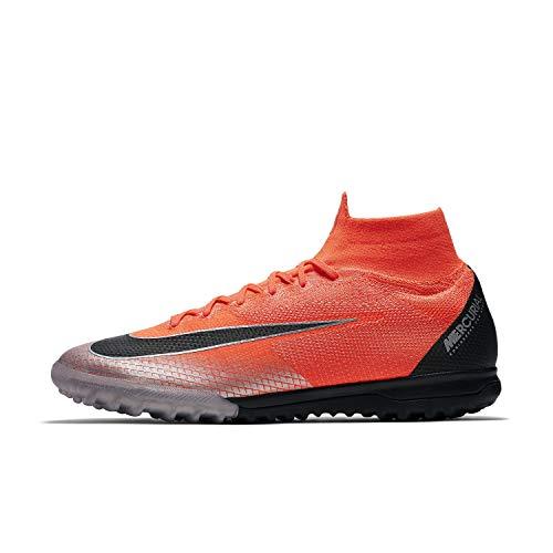 Nike MercurialX Superfly 6 Elite CR7 Turf Soccer Cleats (M8/W9.5, Red/Grey)
