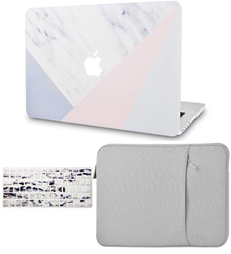 """KECC Laptop Case for MacBook Pro 13"""" (2020, with Touch Bar) w/Keyboard Cover + Sleeve Plastic Hard Shell Case A2289/A2251 3 in 1 Bundle (White Marble Pink Grey)"""