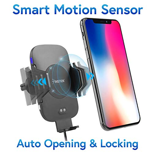 Wireless Charging Car Mount, Insten Quick Charge Fast Charger Air Vent Phone Holder Automatic Open Smart Sensor Compatible with Qi Smartphones iPhone X/XS Max/XR/8 Plus/Galaxy S10/S10 Plus/S10e/S9/S9+
