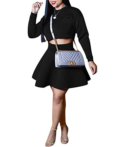 Women 2-Pieces Outfits Skirt Set - Sexy Long Sleeve Blouse A-Line Pleated Skirt Black XL