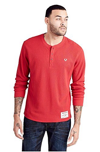 True Religion Men's Long Sleeve Embroidered Logo Henley in Ruby Red (XXX-Large)