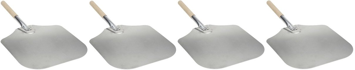 Blackstone Signature Griddle Accessories - Pizza Peel - 12'' by 14'' Lightweight Aluminum - Wood Handle - For Any Outdoor or Indoor Pizza Oven (4-(Pack))