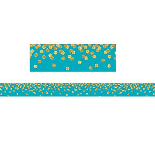 Teacher Created Resources Teal Confetti Straight Border Trim (TCR8869)