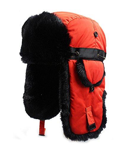 Super Troopers Hunter Costume (Trapper Hat Winter Ear Flap Hat Adjustable Waterproof Windproof Skiing Cap For Men Women Orange-Black wool)