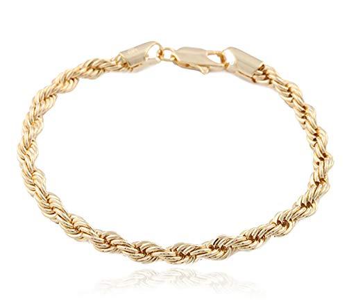 JOTW Goldtone 6mm Brass Rope Chain Bracelet (8 inches) (P-271)