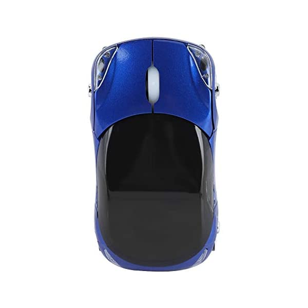ASHATA Wireless Mouse, 2.4G Sport Car Shaped Mouse Bluetooth Optical Mouse with USB Receiver,Portable Cute 1600DPI Mouse…